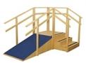 Escada de Madeira de canto em L - 3 Degraus - Fisioterapia, Neurologia, Reabilitação de Movimentos