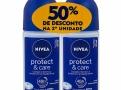 Desodorante Nivea Protect & Care Roll-on Antitranspirante 48h com 2 Unidades de 50ml cada 50% Desconto na 2ª Unidade