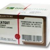 CATGUT CROMADO 0 C/24 75CM AG 1/2 4,00CM