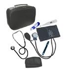 Aparelho de pressão com estetoscópio,maleta,garrote e termômetro digital (kit Enfermagem)