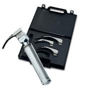 Conjunto de laringoscópio aço inox  com 4 lâminas curvas e maleta - ADC