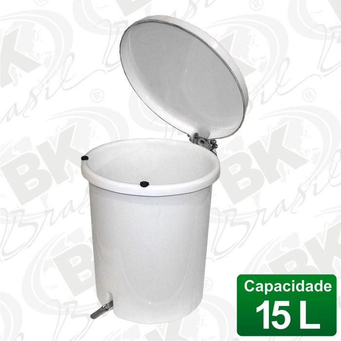 BALDE EM FIBERGLASS COM TAMPA A PEDAL 15 LITROS COM DISPOSITIVO ANTI-RUÍDO (TAMPA) | MBKBP 001