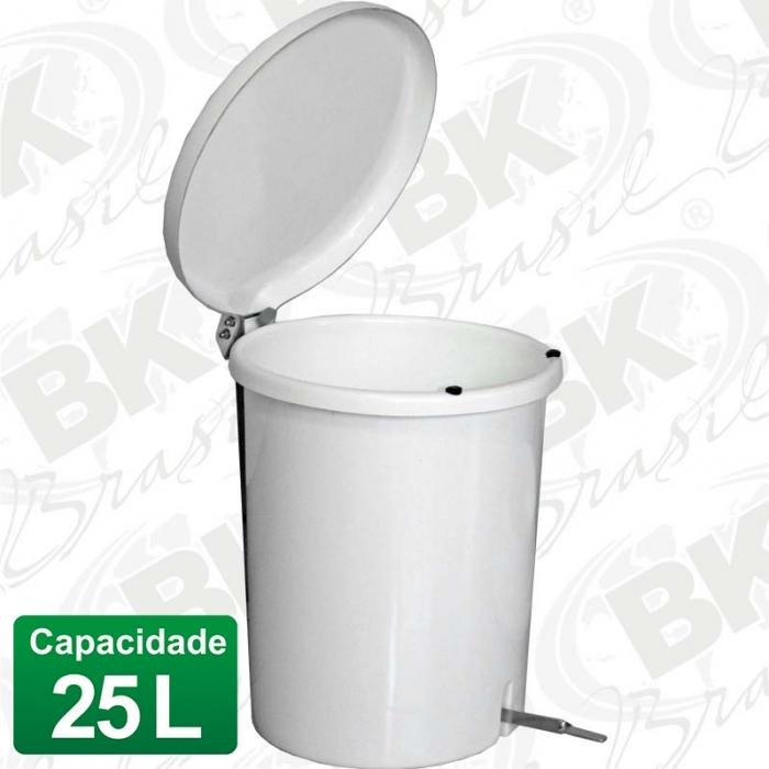 BALDE EM FIBERGLASS COM TAMPA A PEDAL 25 LITROS COM DISPOSITIVO ANTI-RUÍDO (TAMPA)   MBKBP 002