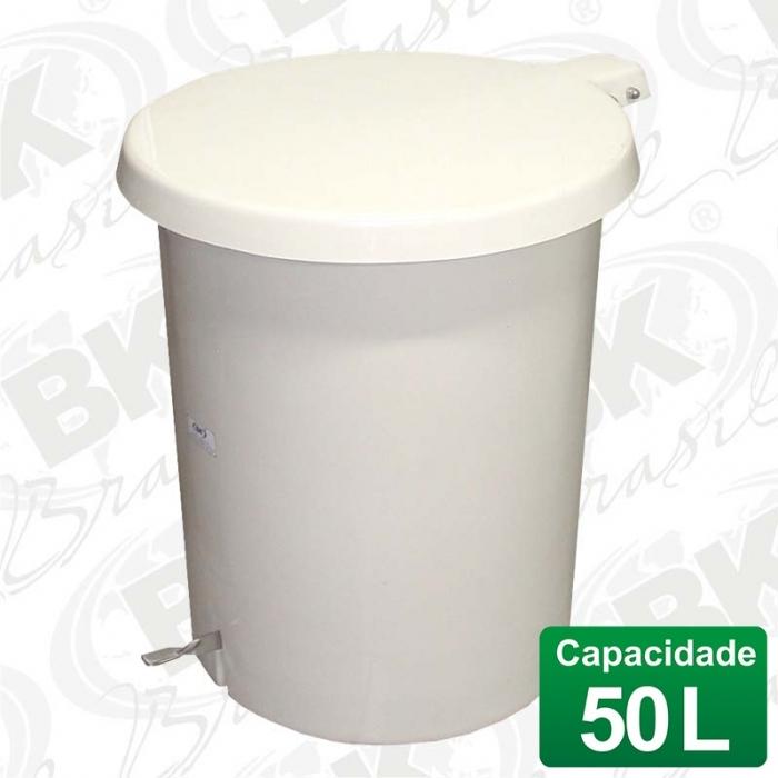 BALDE EM FIBERGLASS COM TAMPA A PEDAL 50 LITROS COM DISPOSITIVO ANTI-RUÍDO (TAMPA)   MBKBP 003