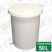 BALDE EM FIBERGLASS COM TAMPA A PEDAL 50 LITROS COM DISPOSITIVO ANTI-RUÍDO (TAMPA) | MBKBP 003