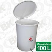 BALDE EM FIBERGLASS COM TAMPA A PEDAL 100 LITROS COM DISPOSITIVO ANTI-RUÍDO (TAMPA) | MBKBP 004