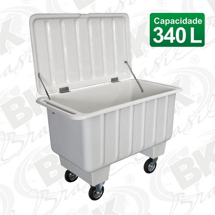 CARRO CONTAINER EM FIBERGLASS FUNDO ELEVADO - 340 LITROS PNEUS 06
