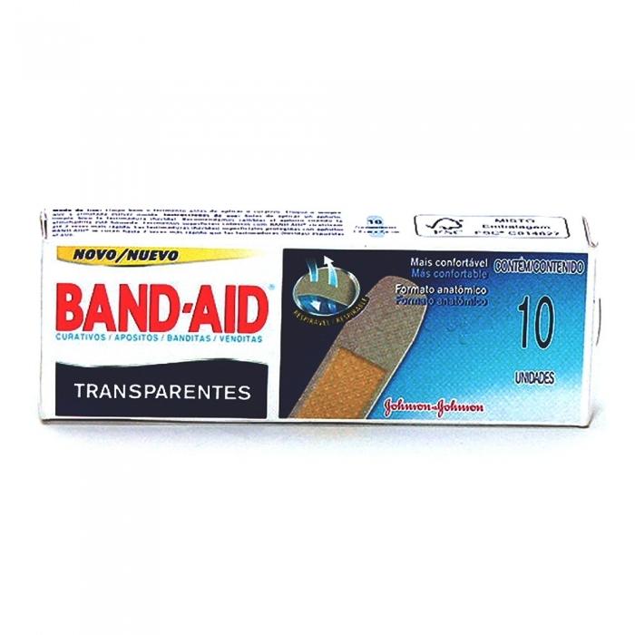 Curativos Band Aid Johnson & Johnson Transparentes com 10 Unidades