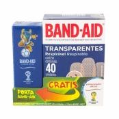 Curativos Band Aid Johnson & Johnson Transparentes com 40 Unidades + Gratis Porta Band Aid