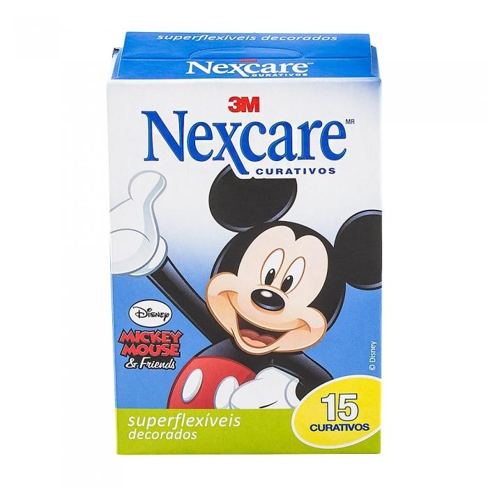 Curativo Nexcare 3M Mickey Mouse Superflexíveis com 15 Unidades