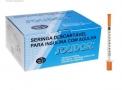 Seringa de Insulina 1 ml com Agulha 8 x 0,30mm (Solidor) - Caixa 100 Un