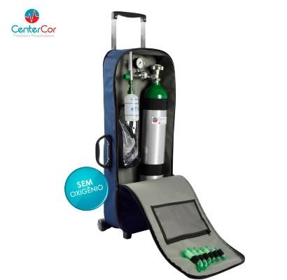 Kit Oxigênio Portátil 5 Litros Bolsa Azul com Rodinhas (SEM CARGA)