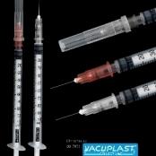 Seringa descartável para insulina com agulha acoplada - VACUPLAST