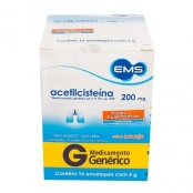 Acetilcisteína 200mg EMS Genérico Envelopes com 16 Unidades de 5g cada