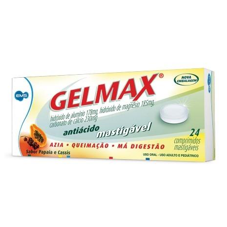 Gelmax Comprimidos Mastigáveis Sabor Papaia e Cassis com 24 Unidades