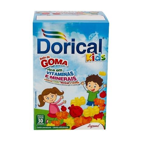Dorical Kids com 30 Balas Sabor Laranja, Morango, Limão