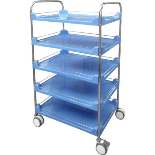 Carro 5 Pratelereiras em Fiberglass com Estrutura e Varandas em Aco Inox Azul Carro 5 Pratelereiras em Fiberglass com Estrutura e Varandas em Aço Inox Azul