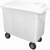 Carro Container em Fiberglass com Tampa e Pneus Infláveis 630 Litros Branco