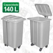 CARRO COLETOR EM FIBERGLASS COM TAMPA A PEDAL 140 LITROS RODÍZIOS DE 03