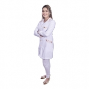 jaleco donna rosa médico veterinário estampa animais