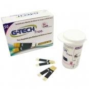 tiras para teste de glicose - free 1 - pote com 50 unidades - g-tech