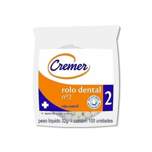 rolo dental rolete de algodão nº 2 cremer (100 unidades)