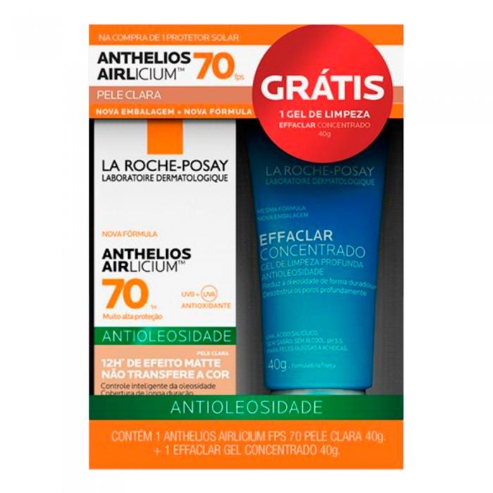 Protetor Solar Anthelios AIRlicium FPS 70 Pele Clara 40g e Ganhe Gel de Limpeza Effaclar Concentrado 40g