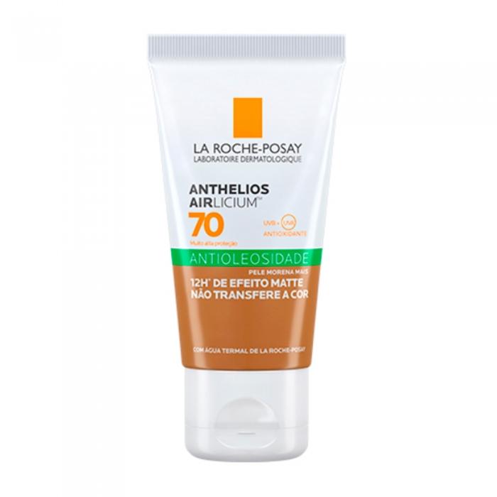 Protetor Solar Anthelios AIRlicium Antioleosidade Pele Morena Mais FPS 70 Efeito Matte Com Cor 40g