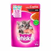 Ração para Gatos Whiskas Jelly Filhotes 2-12 Meses Sachê Sabor Carne com 85g