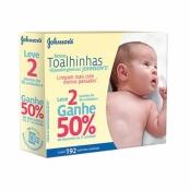 Toalha Umedecida Johnson's Baby Recém Nascido 2 Pacotes de 96 Unidades cada + 50% Desconto no 2º Pacote