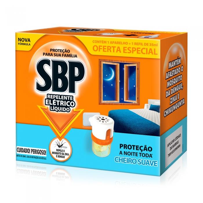 Repelente Elétrico Líquido SBP 45 Noites Cheiro Suave com 1 Aparelho + 1 Refil de 35ml Oferta Especial