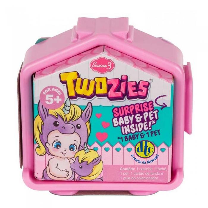 Twozies Combinando Amigos Bebê e Pet DTC Brinquedos Sortidos Série 3 com 1 Casinha, 1 Bebê e 1 Pet