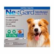 NexGard Contra Pulgas e Carrapatos para Cães de 10,1 a 25kg com 3 Tabletes Mastigáveis