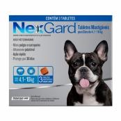 NexGard Contra Pulgas e Carrapatos para Cães de 4,1 a 10kg com 3 Tabletes Mastigáveis