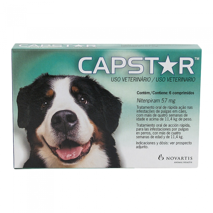 Capstar 57mg para Cães Tratamento Oral nas Infestações de Pulgas Acima de 11,4kg com 6 Comprimidos