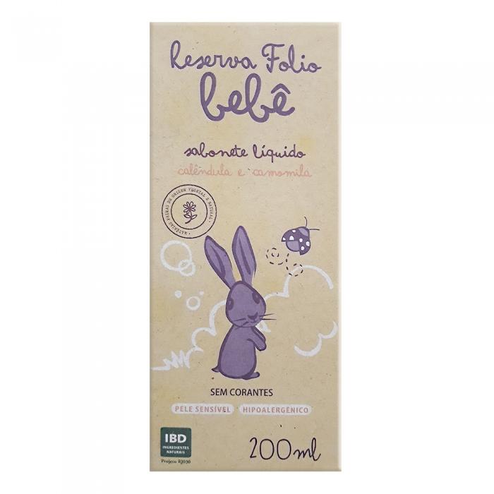 Sabonete Líquido Reserva Folio Bebê Calêndula e Camomila Pele Sensível 200ml