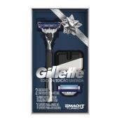 Aparelho de Barbear Gillette Mach3 Turbo Edição Limitada com 2 Cargas e 1 Suporte para o Aparelho